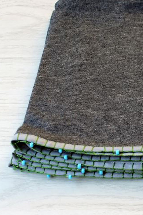 Grey scarf with Turquoise beads