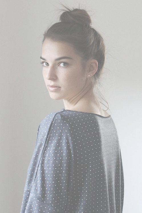 Blue knit with small polka dots