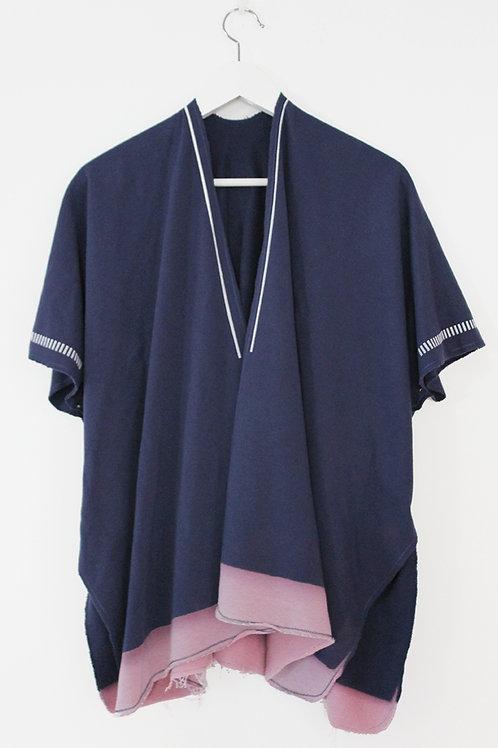 Blue throw on open sweatshirt