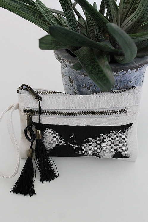 Hand-printed natural zipper pouch