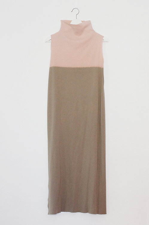 Hand-dyed Camel turtle neck dress