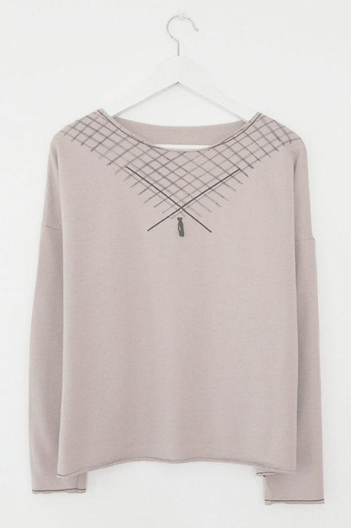 Powder pink sweat & diagonals print
