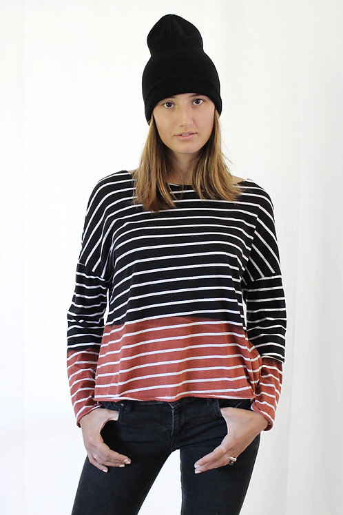 Hand-dyed striped long sleeves T