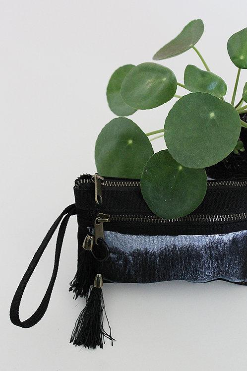 Hand-printed Black  zipper pouch