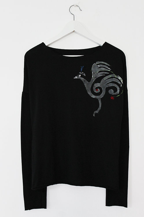 White firebird printed Black shirt