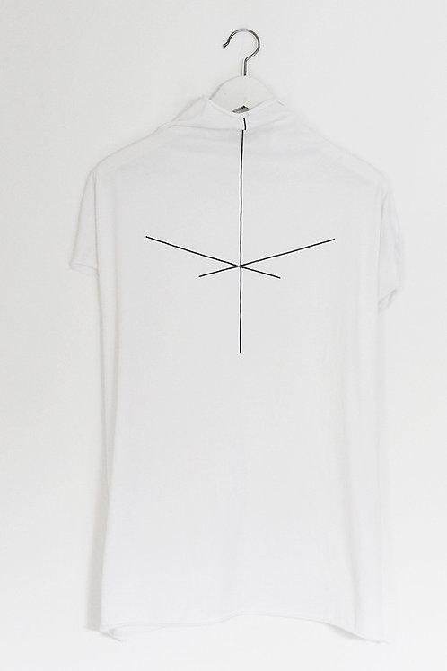 Stripe printed White turtle neck shirt