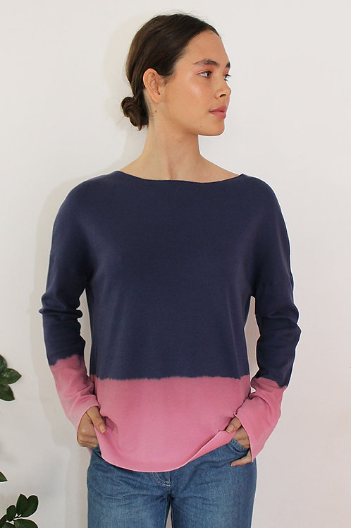 Hand-dyed Blue & Pink shirt