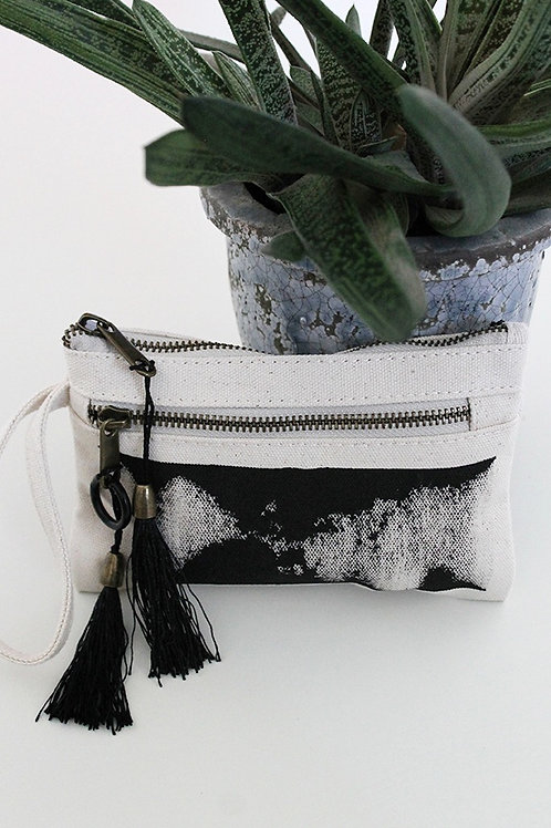 Hand-printed natural double zipper pouch
