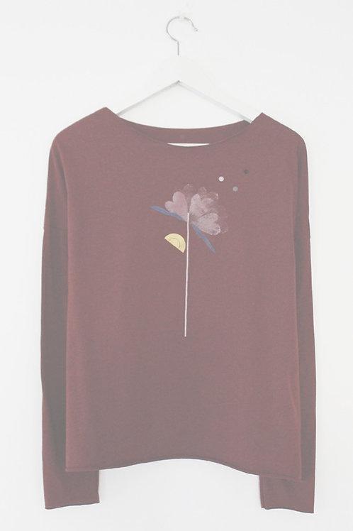 Flower printed Red wine shirt