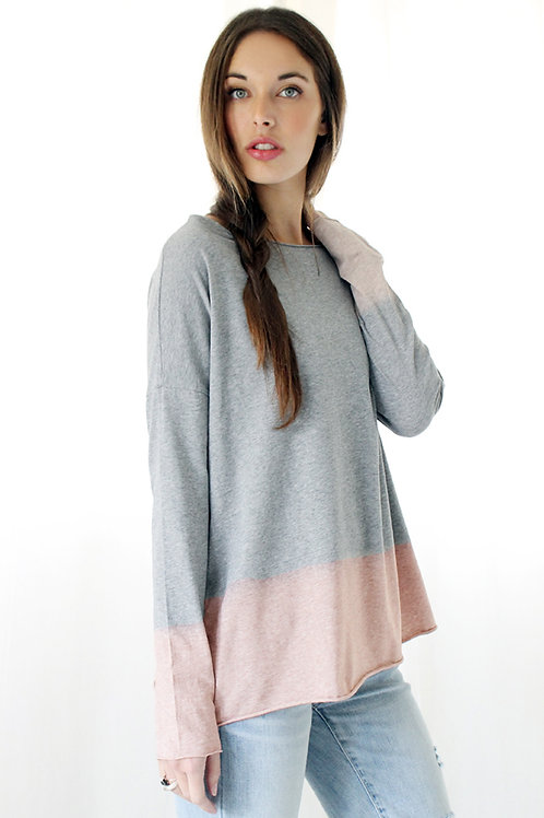 Hand-dyed heather Grey &  pink T
