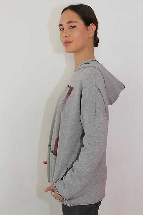 Printed grey hoodie sweatshirt