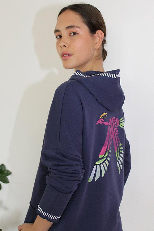 Firebird printed Blue hoodie