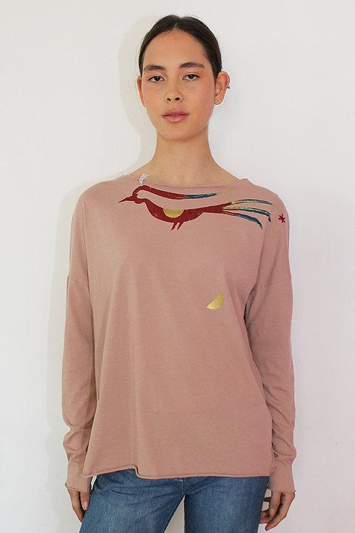Multi color bird printed Pink shirt