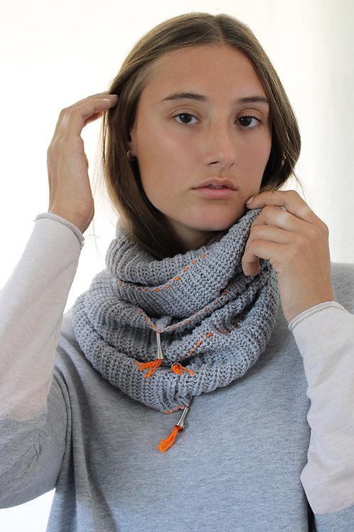Light Grey scarf with Orange details
