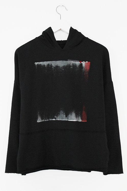 Printed black hoodie sweatshirt