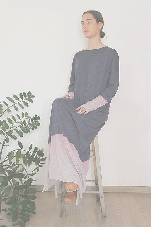 Hand-dyed long sleeves Blue maxi dress