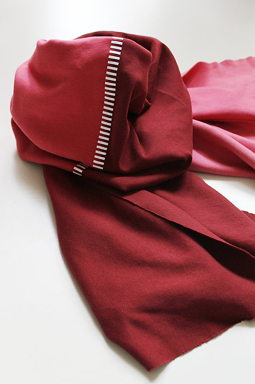Hand-dyed Red & Pink scarf