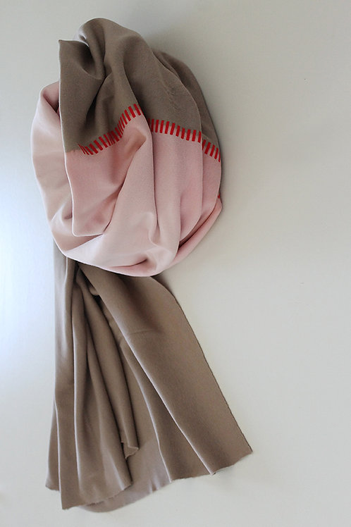 Hand-dyed Camel & Baby pink scarf