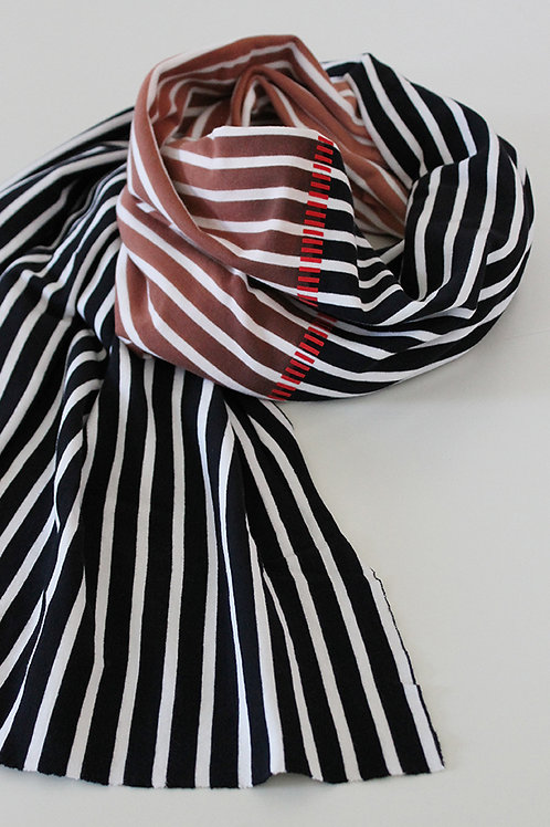 Hand-dyed Striped Black & White scarf