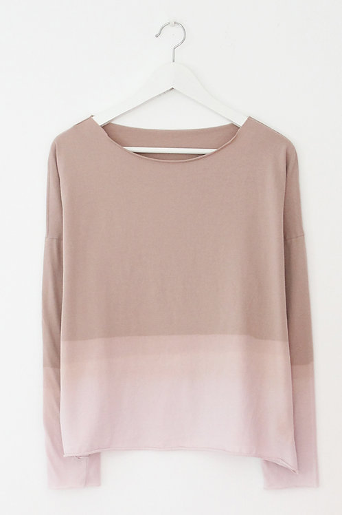 Hand-dyed pink long sleeves shirt