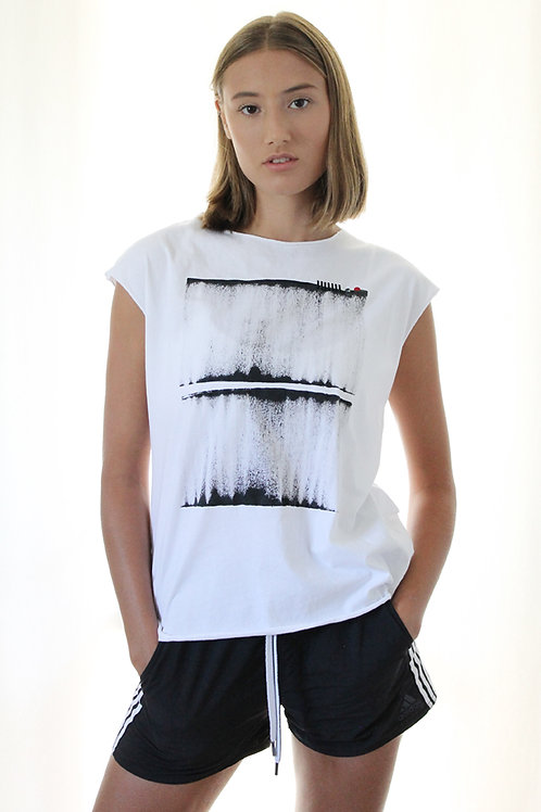 White shirt with abstract print