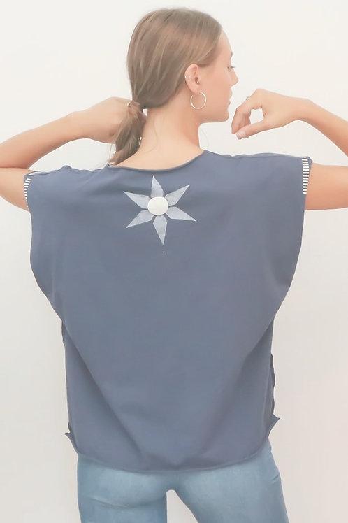 Kaftan style Blue printed top