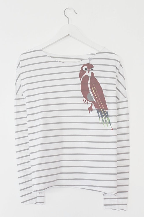 Multi color parrot print striped shirt
