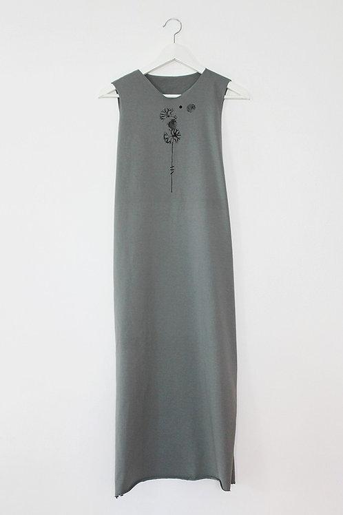 Dandelion printed Olive maxi dress
