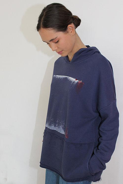 Printed blue hoodie sweatshirt
