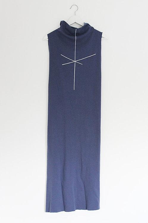 Stripe print Blue turtle neck dress