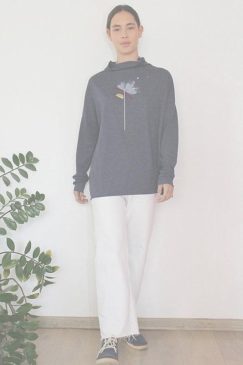 Flower printed turtle neck Blue shirt