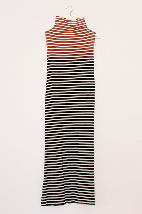 Hand-dyed striped turtle neck dress