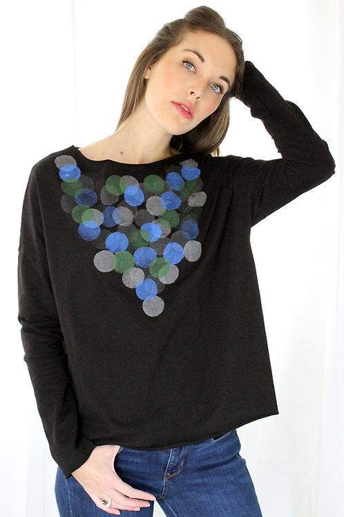 Circles printed long Black shirt