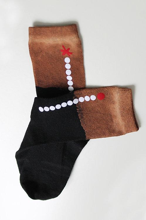 Hand-dyed Black & Copper socks