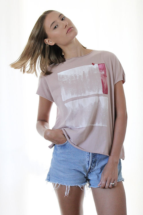 Powder Pink T with abstract print