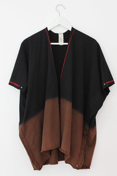 Black throw on open sweatshirt