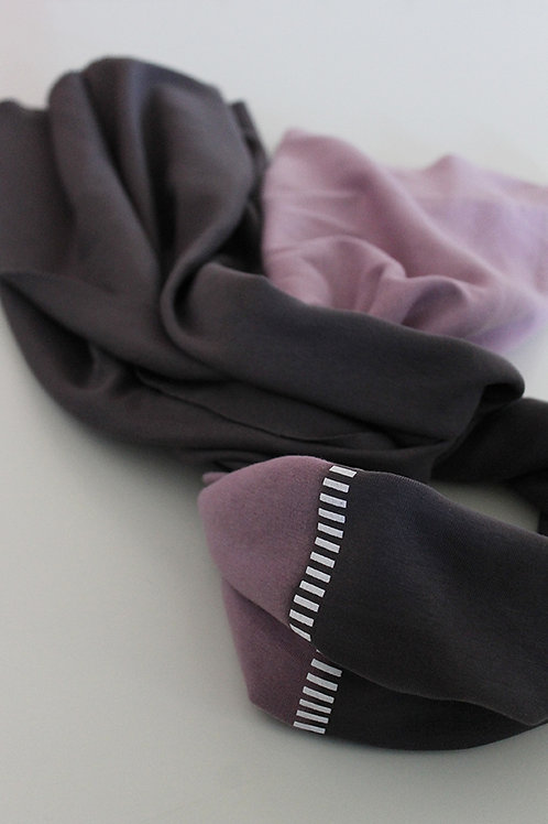Hand-dyed Grey & Purple scarf