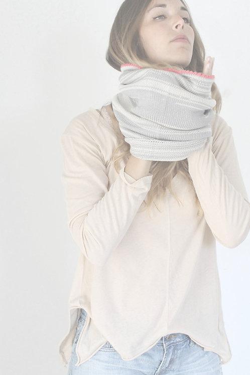 Grey and Peach loop Bamboo scarf