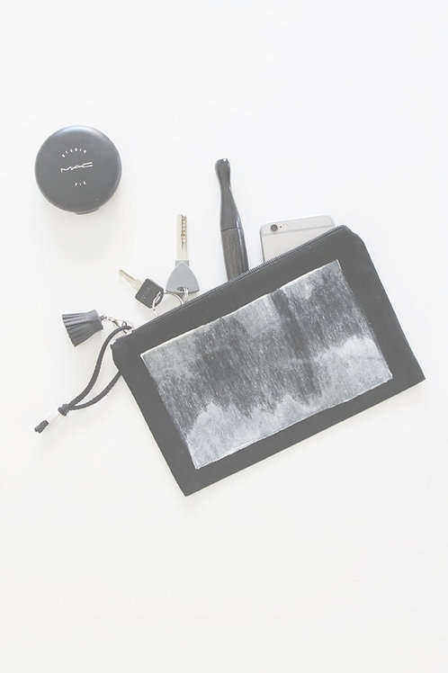 Hand-printed Black canvas pouch