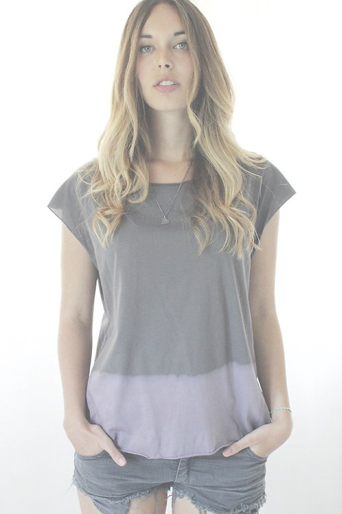Hand dyed Grey & Purple tshirt