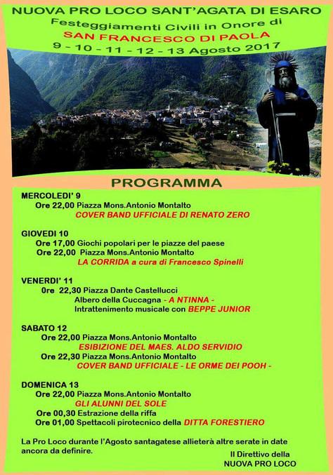 Programma festeggiamenti in onore di San Francesco di Paola.