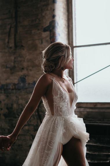 Berta bride illuminated by window