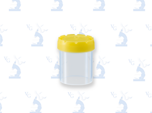 Frasco 70ml, transparente, tapa roscada amarilla montada
