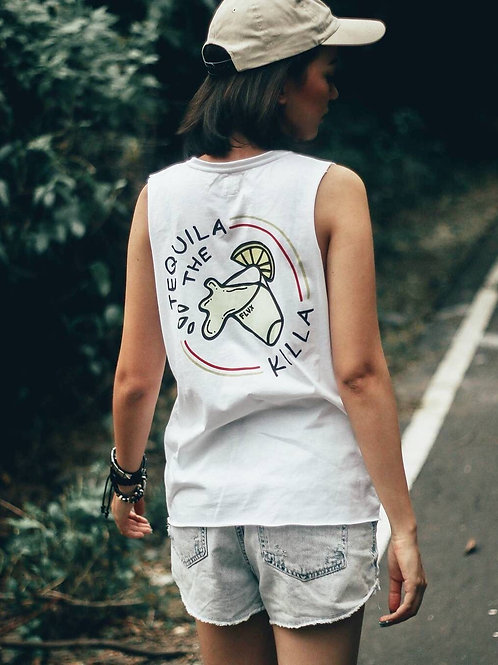 TEQUILA MUSCLE TEE WHITE.