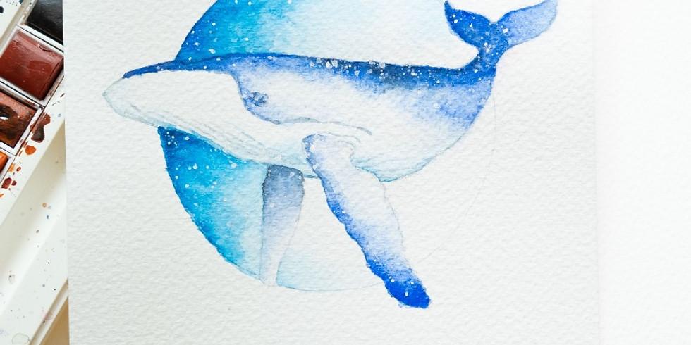 Rains | 鯨魚水彩畫