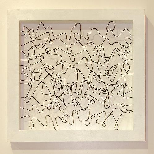 Cuadroen marco de madera blanco, pieza única de la colección Paisajes
