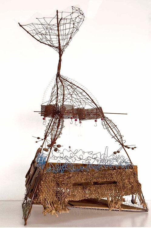 Escultura de varios metales y materiales. Pieza única de la serie Mar