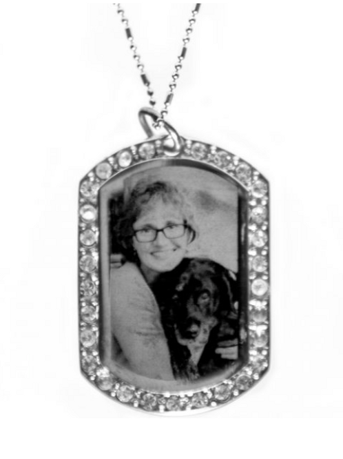 Silver Diamonte portrait pendant