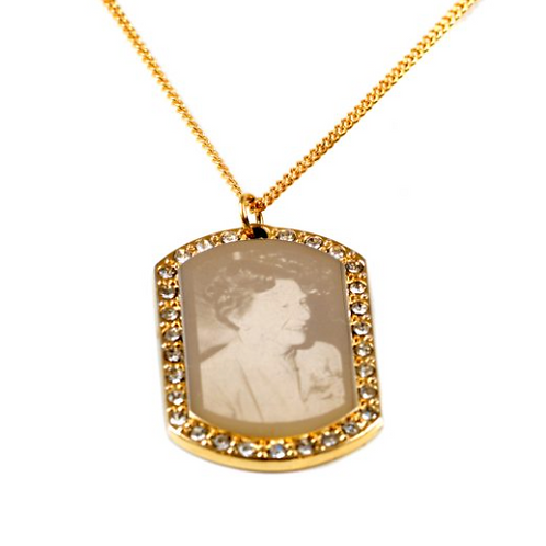Gold diamonte portrait pendant