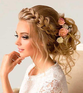 bridal hair, wedding hair, loose upstyle, braid upstyle, flowers, bride